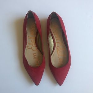 Sam Edelman Red Rae Suede Point Toe Flats
